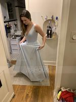 A-Line V-neck Floor-Length Satin Prom Dresses With Pockets (272235678)
