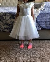 A-Line Knee-length Flower Girl Dress - Satin/Tulle Sleeveless Scoop Neck With Bow(s) (010183509)