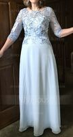 Scoop Neck Floor-Length Chiffon Lace Mother of the Bride Dress With Sequins (267197612)