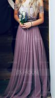 Off-the-Shoulder Floor-Length Tulle Bridesmaid Dress With Ruffle (266195812)