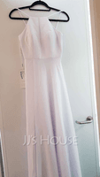 A-Line Scoop Neck Floor-Length Bridesmaid Dress (266256970)