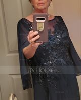 Scoop Neck Floor-Length Chiffon Lace Mother of the Bride Dress With Sequins (267204629)
