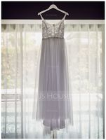 A-Line V-neck Sweep Train Tulle Wedding Dress With Beading (002171945)