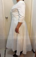 A-Line V-neck Tea-Length Satin Wedding Dress (002250145)