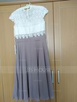 V-neck Tea-Length Chiffon Lace Mother of the Bride Dress (267213735)