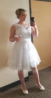 A-Line Illusion Knee-Length Tulle Wedding Dress With Appliques Lace (002058763)