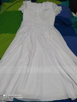 V-neck Floor-Length Chiffon Lace Wedding Dress (265233947)
