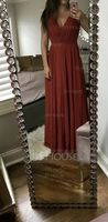 V-neck Floor-Length Chiffon Bridesmaid Dress With Ruffle (266195981)