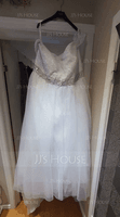 Ball-Gown Off-the-Shoulder Cathedral Train Tulle Wedding Dress With Beading Sequins (002058784)