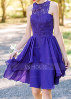 A-Line Scoop Neck Knee-Length Chiffon Homecoming Dress With Cascading Ruffles (022087577)