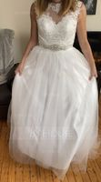 Ball-Gown/Princess Illusion Court Train Tulle Lace Wedding Dress With Beading (002127255)