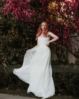 A-Line/Princess Off-the-Shoulder Sweep Train Chiffon Lace Wedding Dress With Ruffle (002124281)