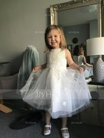 A-Line Tea-length Flower Girl Dress - Satin/Tulle Sleeveless Scoop Neck With Bow(s) (010235323)