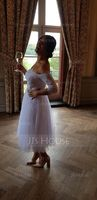 Ball-Gown Off-the-Shoulder Tea-Length Tulle Wedding Dress With Beading Sequins (002093896)