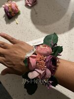 Classic Hand-tied Satin/Emulational Berries Wrist Corsage - (123119626)