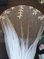 One-tier Lace Applique Edge Cathedral Bridal Veils With Lace (006207638)