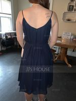 V-neck Knee-Length Chiffon Bridesmaid Dress (266213372)
