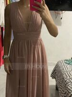 A-Line V-neck Floor-Length Chiffon Bridesmaid Dress (266255532)