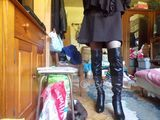 Women's PU Stiletto Heel Pumps Platform Over The Knee Boots With Zipper shoes (088140256)