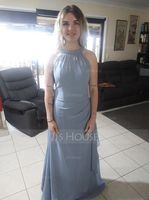 A-Line/Princess Scoop Neck Floor-Length Chiffon Bridesmaid Dress With Cascading Ruffles (007144748)