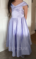 Off-the-Shoulder Tea-Length Satin Junior Bridesmaid Dress With Ruffle Pockets (268253364)