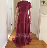 High Neck Floor-Length Chiffon Bridesmaid Dress (266232831)