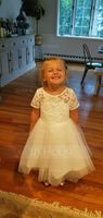 Ball Gown Knee-length Flower Girl Dress - Tulle/Lace Short Sleeves Scoop Neck With Back Hole (010093755)