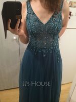 A-Line V-neck Floor-Length Tulle Prom Dresses With Beading Sequins Split Front (018220270)