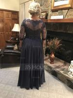 A-Line Scoop Neck Floor-Length Chiffon Lace Mother of the Bride Dress With Beading Sequins (008143370)