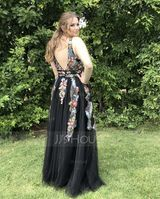 A-Line V-neck Floor-Length Tulle Prom Dresses With Lace Beading Sequins (018146340)