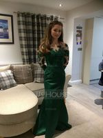 Trumpet/Mermaid Scoop Neck Floor-Length Satin Evening Dress (017105912)