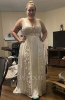 A-Line V-neck Sweep Train Chiffon Lace Wedding Dress With Sequins (002234900)