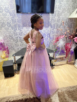 Floor-length Flower Girl Dress - Satin Tulle Lace Sleeveless Scoop Neck With Beading Sequins (269250521)