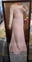 Trumpet/Mermaid Scoop Neck Sweep Train Chiffon Lace Bridesmaid Dress (266216224)