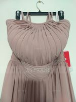 A-Line/Princess Scoop Neck Floor-Length Chiffon Bridesmaid Dress With Ruffle (266177040)