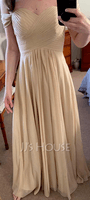 Off-the-Shoulder Floor-Length Chiffon Bridesmaid Dress With Ruffle (266246152)
