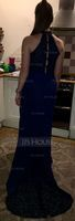 Trumpet/Mermaid High Neck Sweep Train Chiffon Lace Evening Dress (017237023)