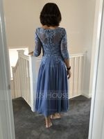 A-Line Scoop Neck Tea-Length Chiffon Lace Mother of the Bride Dress With Beading Sequins (008204911)