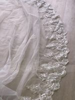 One-tier Lace Applique Edge Cathedral Bridal Veils With Lace (006147431)