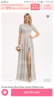 Scoop Neck Floor-Length Chiffon Lace Bridesmaid Dress With Split Front (266230690)