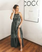 A-Line Scoop Neck Floor-Length Chiffon Evening Dress With Lace Sequins (017229908)