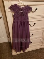 A-Line Scoop Neck Asymmetrical Chiffon Lace Junior Bridesmaid Dress (009234016)