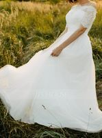 A-Line Off-the-Shoulder Floor-Length Tulle Wedding Dress (002186379)