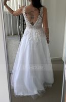 A-Line V-neck Floor-Length Tulle Wedding Dress With Lace (002235184)