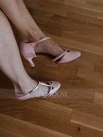 Women's Satin Heels Pumps Ballroom With T-Strap Dance Shoes (053047608)