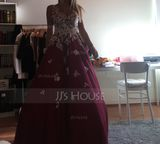V-neck Floor-Length Tulle Prom Dresses With Beading Sequins (272207249)