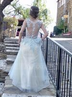 A-Line Scoop Neck Floor-Length Tulle Prom Dresses (018138360)