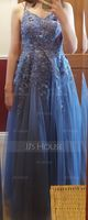 A-Line V-neck Floor-Length Tulle Prom Dresses With Lace (018220266)