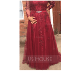 A-Line V-neck Sweep Train Tulle Prom Dresses With Beading Appliques Lace (018175945)