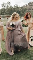 A-Line/Princess Off-the-Shoulder Floor-Length Chiffon Bridesmaid Dress With Split Front (266177069)